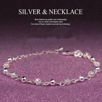 Lady 925 Silver Plated Ball Chain Anklet Crystal Bracelet Christmas Jewelry Gift