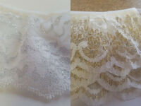 "Gathered Frilled Lace Gold White or Silver White 2"" 50mm or 3"" 70mm Width"