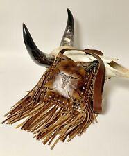Raviani Cross-body Fringe bag in Two Tone Light Brown Longhorn Cowhide & Studs