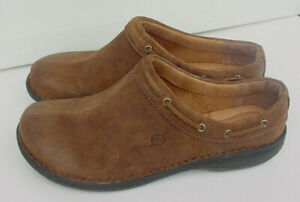 Born Women's Clog Brown Tahoe Leather Suede Slip On Shoe Ladies F58206 Sz 9 NEW!