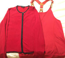 Womens Mixes Top Lot Size Medium Red Long Sleeve Button Down Blouse Sleeveless