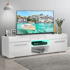 High Gloss TV Stand Unit Cabinet 2 Drawer w/LED Light Entertainment Center White
