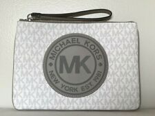 New Michael Kors Fulton Sport XL zip clutch wristlet Signature PVC Bright White