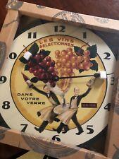 """Vintage style """" Les Vins Selectionnes UNION Dans Votre Verre """"  24"""" Clock NIB"""