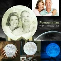 Photo Custom Moon Lamps Personality 3D Print Lunar Usb Rechargeable Night Light
