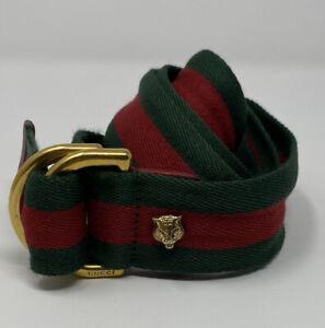 """Gucci Web Feline D Ring Unisex Belt 453271 Size 34"""" (85cm)"""