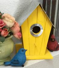 Wood Bird House Standing Garden Birdhouse Nest Outdoor Indoor Metal Rustic Decor