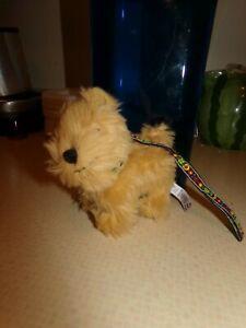 "American Girl Doll Julie Pet DOG Tan Terrier 6"" Walking Pose Floral Leash 2013."