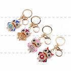 New Pretty Owl Keychain Rhinestone Crystal Key Ring Chain Bag Charm Pendant Gift