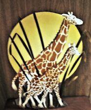 "Euc Metal Wall Hanging of Momma & Baby Giraffes on Moonlit Night - 19.50"" Tall"