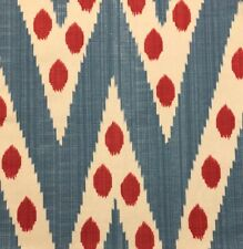 CLARENCE HOUSE Bogart Red Blue Central Asian Chevron Linen Cotton Remnant New