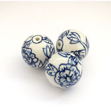 3Pcs Hand Painted Peony Ceramics Porcelan Beads Finding--Jewelry Beads--24mm