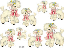BaBY LamB WiTH PinK BoW & FLoWeRs SHaBbY WaTerSLiDe DeCALs