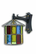 LEADED LANTERN OUTDOOR WALL LIGHT MULTI COLOUR STAINED GLASS HAND MADE TL62DCMC