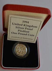 1994 United Kingdom Silver proof Piedfort £1 One Pound Coin Box Coa