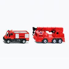 SIKU Spielzeug Modell Feuerwehrfahrzeug Feuerwehr Unimog Kranwagen Set / 1661