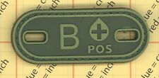 PVC Blood Type B POS B+ OD GREEN Tags Tactical Patch Morale 3D Negative round
