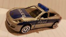 Majorette 209B 1/64th Porsche Panamera 970 POLICE Silver Blue NEW diecast model
