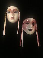 2 Clay Art Porcelain Mask's 1980'S