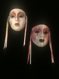 2 Clay Art Porcelain Mask's 1980'S