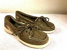 Sperry Top-Sider women's slip on camo green boat shoes size 6.5 M NICE!