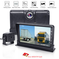 "7"" Dual Monitor Full HD DVR Video Recording Rearview Camera For Truck Trailer RV"