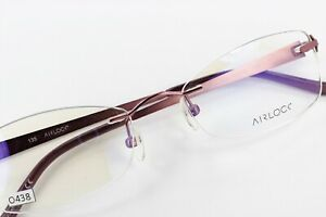 AIRLOCK SHATTERED 205 601 Rose Mosaic 52-18-135 Rimless Eyeglass Frames O438