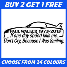 Paul Walker 2 ANY COLOUR JDM Euro Drift Car Bumper Sticker Window Vinyl Decal