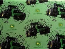 John Deere Big Time Tractors Farming Combines Logos on Cotton Fabric By The Yard