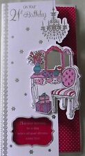FEMALE 21st BIRTHDAY CARD - PRESENTS, FLOWERS - EMBELLISHED ON FRONT (501)