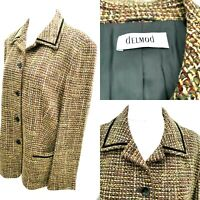 Tweed Blazer Jacket ladies Size 18 Delmod German Wool Collar Button Smart Casual