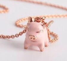 NEW KATE SPADE Pink Multi Imagination Flying Pig Pendant Necklace w/KS Dust Bag