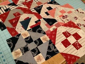13 ANTIQUE hand pieced quilt blocks red, indigos horse shoes anchors and  more