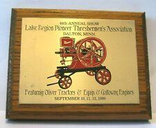 Galloway Hit Miss Engine Display Plaque Lake Region Pioneer Threshers 1999 Show
