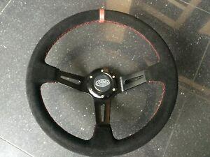 Deep Dish 350mm Universal Steering Wheel Black Suede Red Stitching OMP MOMO