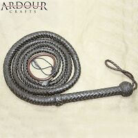 Bullwhip Genuine Leather Dark  Brown 8 Feet  12 Plaits Indiana Jones Bull Whip