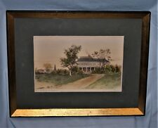 Vtg Hand Colored Steel Engraved Print Signed Mercier Home of Henry Longfellow