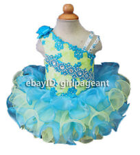 Infant/toddler/baby Blue/Green Lace Crystals Bow pageant Dress 2T G116