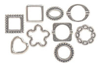 90PCS Antiqued Silver Metal Bead Frame for Jewelry Making (9 Styles)