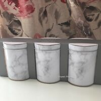 Set Of 3 Marble Effect Tea Coffee Sugar Canisters Metal Tin Storage Container