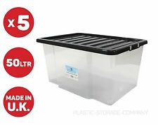 5 X 50LITRE PLASTIC STORAGE BOXES !! OFFICES TOYS HOME !! WITH BLACK LID !!CHEAP