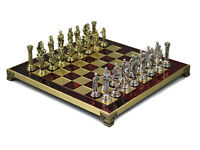 GREEK METAL RED AND GOLD CHESS BOARD SET HANDMADE ROMAN PIECES 200R