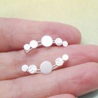 Kreis rund glänzend matt Design Ohrklemme Ohrringe Clip 925 Sterling Silber neu
