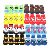 4PCS Warm Pet Dog Puppy Indoor Soft Cotton Anti-slip Knit Weave Sock Skid Bottom