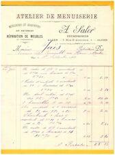"""ALGER (ALGERIE) ATELIER de MENUISERIE / CHARPENTE & MEUBLES """"A. SALOR"""" en 1903"""