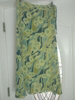 Tommy Bahama Size 8 93% Silk Long Green Blue Floral Skirt Beautiful