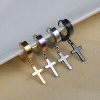 Men Women Stainless Steel Cross Dangle  Drop Huggie Hinged Hoop Earrings Jewelry