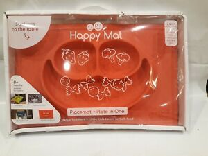 The Original ezpz Happy Mat Placemat plate in One in Coral Red suction toddlers