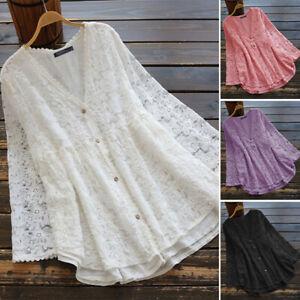 ZANZEA 8-24 Women V Neck Button Down Shirt Tee Top Floral Crochet Lace Blouse