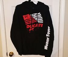 DUCATI Logo Black/Red Hooded Sweatshirt/Hoodie Mens/Adult Large L Weaver Fever